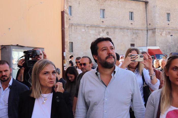 Salvini al cantiere Basilica Norcia